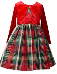 Bonnie Jean Girls Sleeveless Plaid Taffeta Dress with Shrug