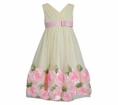 Size 4T - 7 Available Bonnie Jean Girls  Yellow Rose Dress - FINAL SALE