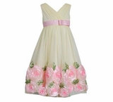 Bonnie Jean Girls  Yellow Mesh Bonaz Easter Spring Dress