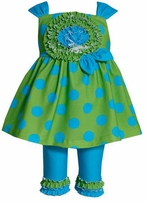 Bonnie Jean Green Blue Sleeveless Dot Dress Legging Set