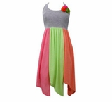 Bonnie Jean Grey Knit Bodice to Stripe Neon Color Maxi Dress