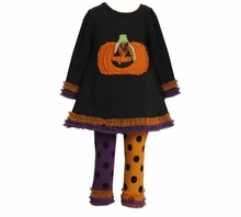 Girls Halloween Black Tunic Pumpkin Tutu Legging Set