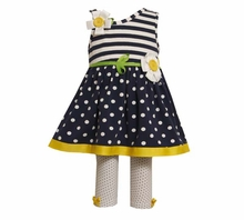 Bonnie Jean Infant Girls Spring : Navy One Shoulder Daisy Capri Set - OUT OF STOCK
