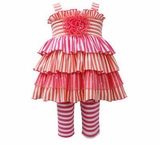Bonnie Jean Infant-Toddler Girl's Striped Smocked Legging Set