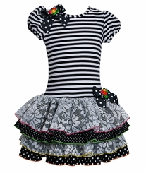 Bonnie Jean Lace Tiered Black Stripe Dress