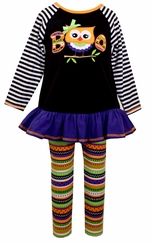 Bonnie Jean Liitle Girls Striped Boo Owl Halloween Pant Set