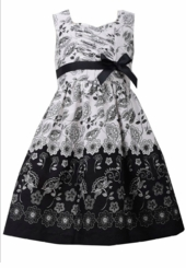 Bonnie Jean Little Girl's Black and Ivory Toile Dress