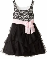 Bonnie Jean Little Girl's Black Cascade Dress Pink Bow