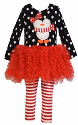 Bonnie Jean Little Girl's Black Polka Dot Penguin Ruffle Tutu Set