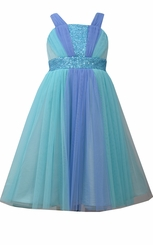Bonnie Jean Little Girls' Frozen Aqua Mesh Sequin Dress