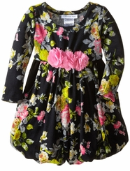 Bonnie Jean Little Girl's Black Floral Bubble Dress