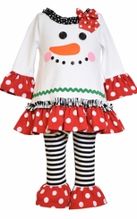 Bonnie Jean Little Girl's Smiling Dot Snowman Legging Set