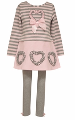 Bonnie Jean Little Girl's Hearts Cord Skirt Set