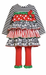 Bonnie Jean Little Girl's Holiday Tiered Ruffle Legging Set