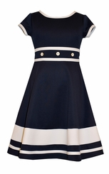 Bonnie Jean Little Girl's Navy Scuba Skater Dress