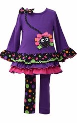 Bonnie Jean Little Girl's Purple Spider Halloween Legging Set -sold out