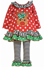 Bonnie Jean Little Girl's Red Polka Dot Reindeer Legging Set
