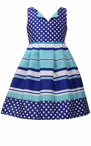 Bonnie Jean Little Girl's Royal Stripe Dot Shantung Dress