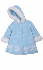 Bonnie Jean Little Girl's Snowflake Fleece Coat With Hood CLEARANCE