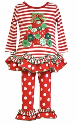Bonnie Jean Little Girl's Stripe Dot Tree Applique Christmas Pant Set