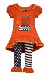 "Back to School Bonnie Jean Little Girls ""A"" for Apple Applique Stripe Pant Set"