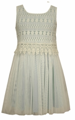 Bonnie Jean Little Girls Aqua Crochet Lace Dress