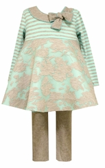 Bonnie Jean Little Girls Aqua Grey Jacquard Legging Set