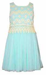 Bonnie Jean Little Girls Aqua Lace Tulle Dress