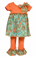 Bonnie Jean Little Girls Aqua Orange Vintage Legging Set