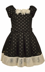 Bonnie Jean Little Girls Black Princess Air Mesh Dress