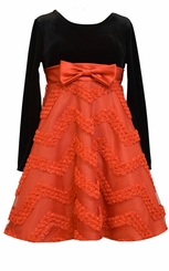 Bonnie Jean Little Girls Black Red Chevron Bonaz Party Dress