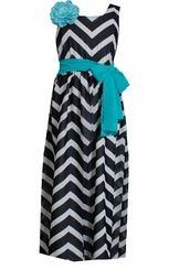 Bonnie Jean Little Girls' Black White Chevron Maxi Dress