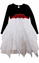 Bonnie Jean Little Girls Black White Tulle Cardigan Dress