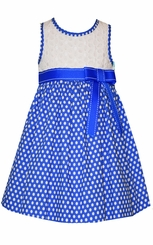 Bonnie Jean Little Girls Blue Dot Bow Sundress