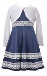 Bonnie Jean Little Girls Blue Lace Cardigan Dress