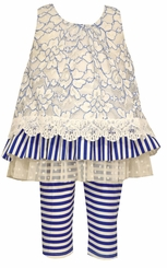 Bonnie Jean Little Girls Blue Lace Stripe Capri Set