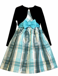 Bonnie Jean Little Girls Blue Taffeta Cardigan Dress