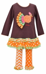 Bonnie Jean Little Girls Brown Ribbon Turkey Legging Set