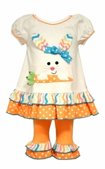 Bonnie Jean Little Girls Bunny Carrot Dot Legging Set
