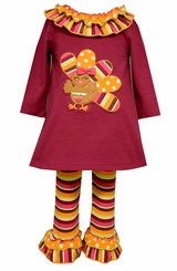 Bonnie Jean Little Girls Burgundy Ruffle Stripe Turkey Legging Set