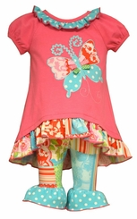 Bonnie Jean Little Girls Butterfly Hi Low Legging Set