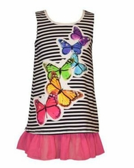 Bonnie Jean Little Girls Butterfly Stripe Sundress