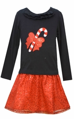 Bonnie Jean Little Girls Candy Cane Sequin Skirt Set