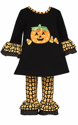 Bonnie Jean Little Girls Candy Corn Pumpkin Applique Pant Set