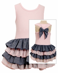 Bonnie Jean Little Girls Chambray Bow Back Tiered Dress