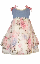 Bonnie Jean Little Girls Chambray Floral Dress