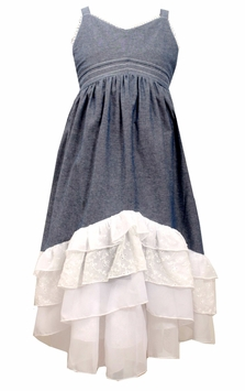 Bonnie Jean Little Girls Chambray Tiered Maxi Dress 4-6X - SOLD OUT