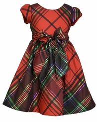 Bonnie Jean Little Girls Christmas Plaid Button Back Dress