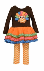 Bonnie Jean Little Girls Colorful Ribbon Owl Legging Set