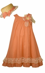 Bonnie Jean Little GIrls Coral Float Easter Dress with Hat